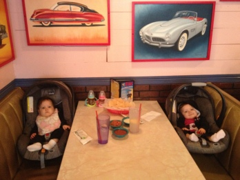 Their first time at Chuy's. Lily loved the chips. Avery loved the beans.