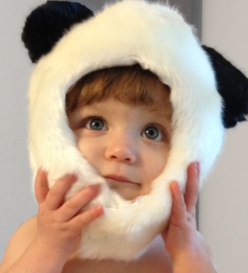 Modeling her panda hat. Perfect for these chilly Texas winters.