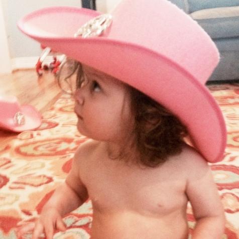 She wears a ten gallon hat.
