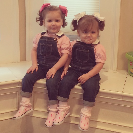 Pig tails and overalls.